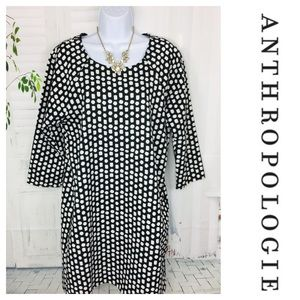 Everly Anthropologie Black White Print Dress Large